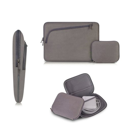 Coodio® Universal 13.3 inch Laptop Funda Sleeve + Accesorio Bolsa Para Apple Macbook Air 13, Macbook Pro Retina 13 (Fit all 13.3 inch ultrabook laptop) - Color Gris