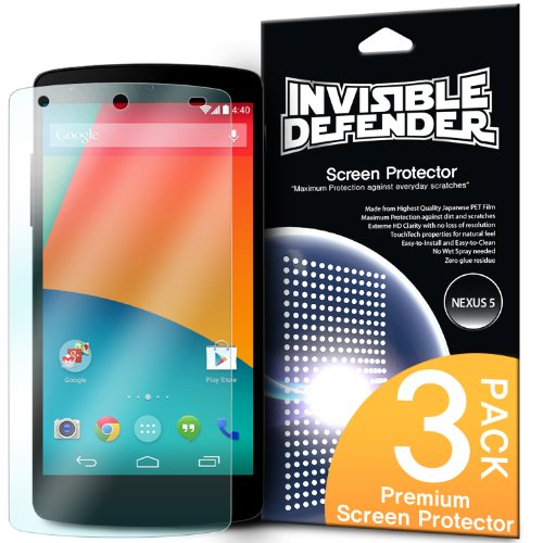 [HD CLARITY] Invisible Defender - Nexus 5 Protector Pantalla Screen Protector Premium HD Crystal Clear Film with [3 PACK/Lifetime Replacement Warranty] High Definition Clarity Film The World's Best Selling Premium EXTREME CLEAR Protectores de Pantalla Screen Protector for Google Nexus 5
