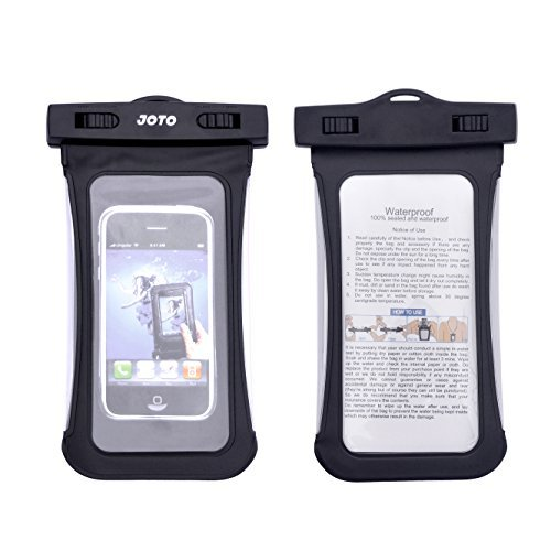JOTO Universal Waterproof Case Bag for iPhone 6 5s 5c 5 4S 4, Samsung Galaxy S5, S4, S3, Samsung Note 3 / 2 / 1, HTC One M8 (2014), M7 (2013), HTC One Max, LG G2, G3, Nexus 5, 4, Sony Xperia Z1, Z2, Nokia Lumia 520, 630, 930, BlackBerry Z10, Z3, Motorola MOTO X, G, E **[unique clear side windows feature]** - Also fits other Smartphone up to 6.0 diagonal - IPX8 Certified to 100 Feet (Black) (Baby/Babe/Infant - Little ones)