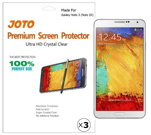 JOTO Premium Screen Protector Film for Samsung Galaxy Note 3 (Note III) Smartphone, Ultra Crystal Clear (Invisible) with Lifetime Replacement Warranty (3 Pack) Color: ?Black (Baby/Babe/Infant - Little ones)