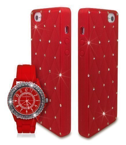 Reloj unisex con funda de silicona compatible con Apple iPhone 4 4S en rojo con diamantes brillantes de cristal