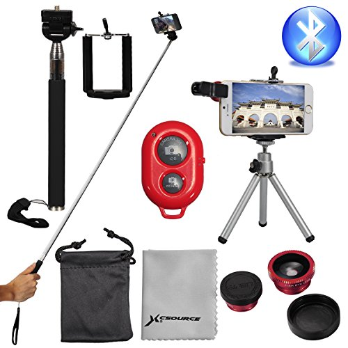 XCSOURCE® Super Kit Fotografico Trípode + Controlador Wireless+ 3-en-1 Lente Objetivo Fisheye Gran Angular Macro+ Telescópica Extensible Monopod de Cámara Teléfono para Smartphone iPhone 4s 5 5c 5s 6 6 Plus Sumsung Android DC541